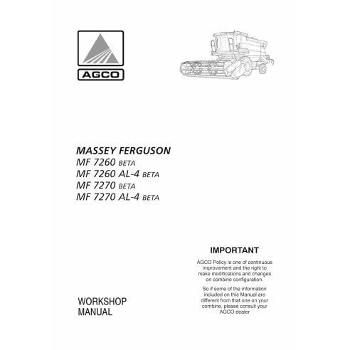 Manuel d'atelier pour moissonneuse-batteuse Massey Ferguson MF 7260, 7270 BETA - Massey Ferguson manuels