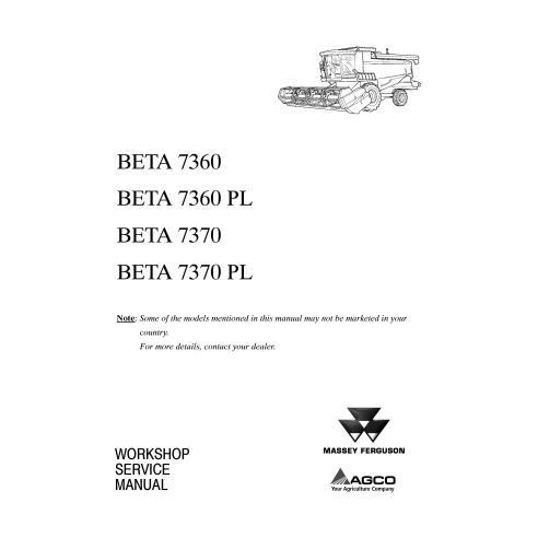 Massey Ferguson MF 7360, 7370 BETA combine harvester operator's manual - Massey Ferguson manuals