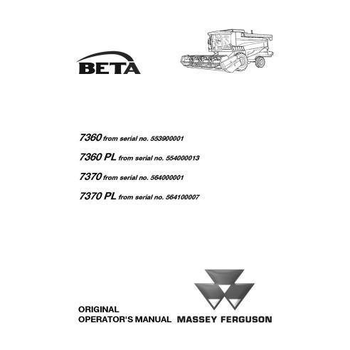 Manual del operador de cosechadoras combinadas Massey Ferguson MF 7360, 7370 BETA - Massey Ferguson manuales