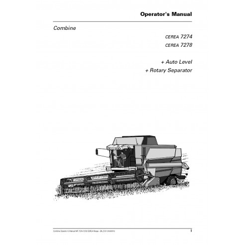 Operator's manual for Massey Ferguson MF 7274, MF 7278 CEREA combine  harvester, PDF