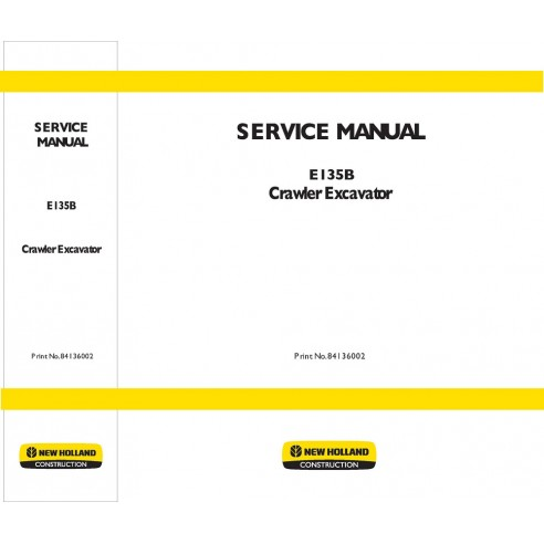 New Holland E135B excavator service manual - New Holland Construction manuals