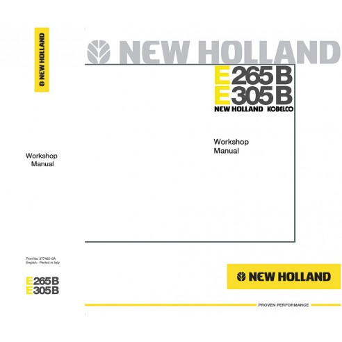 Workshop manual for New Holland E265B, E305B excavator, PDF-New Holland