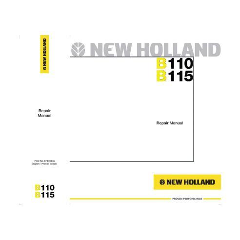 Manuel de réparation pour tractopelle New Holland B110, B115 - Construction New Holland manuels