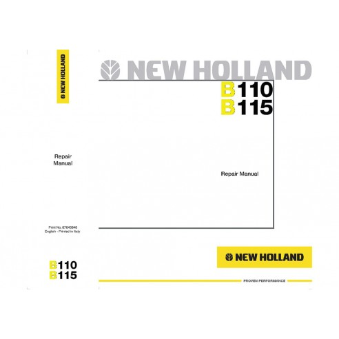 Repair manual for New Holland B110, B115 backhoe loader, PDF-New Holland