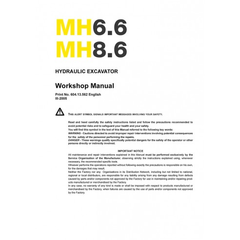 New Holland MH6.6, MH8.6 excavator workshop manual - New Holland Construction manuals