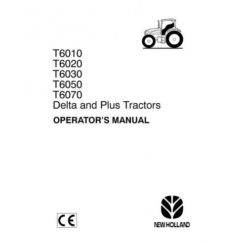 Manual do operador do trator New Holland T6010, T6020, T6030, T6050, T6070 - New Holland Agriculture manuais