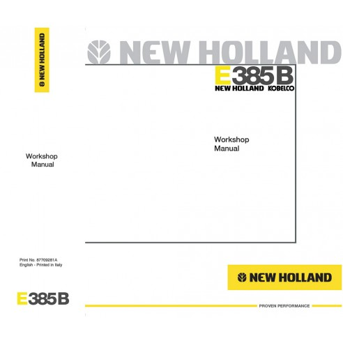 New Holland E385B excavator workshop manual - New Holland Construction manuals