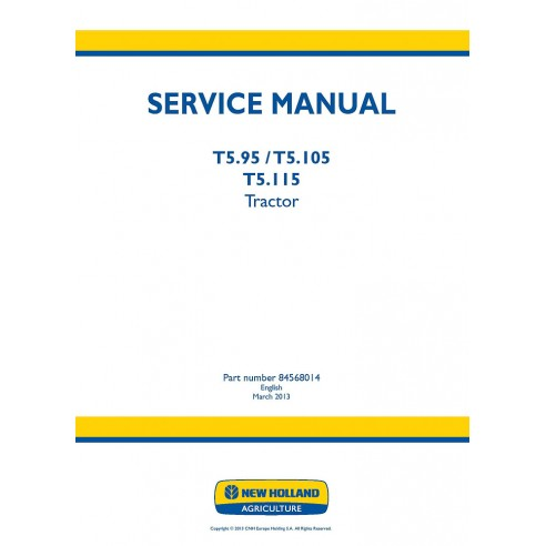New Holland T5.95, T5.105, T5.115 tractor service manual - New Holland Agriculture manuals