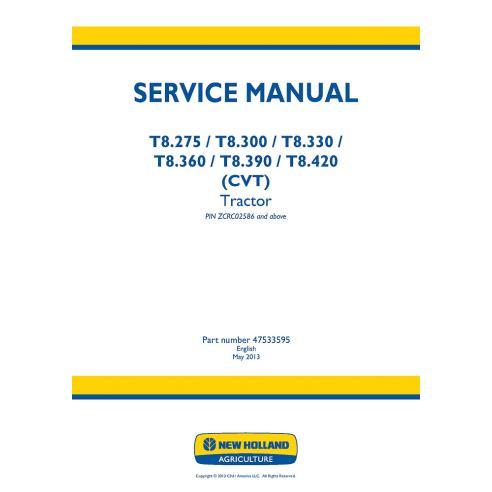 New Holland T8.275, T8.300, T8.330, T8.360, T8.390, T8.420 manual de servicio del tractor - Agricultura de New Holland manuales