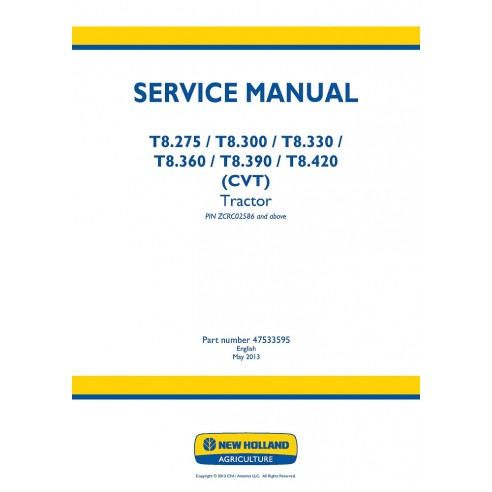 New Holland T8.275, T8.300, T8.330, T8.360, T8.390, T8.420 tractor service manual - New Holland Agriculture manuals
