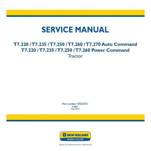 Manual de serviço do trator New Holland T7.220, T7.235, T7.250, T7.260, T7.270 - New Holland Agriculture manuais