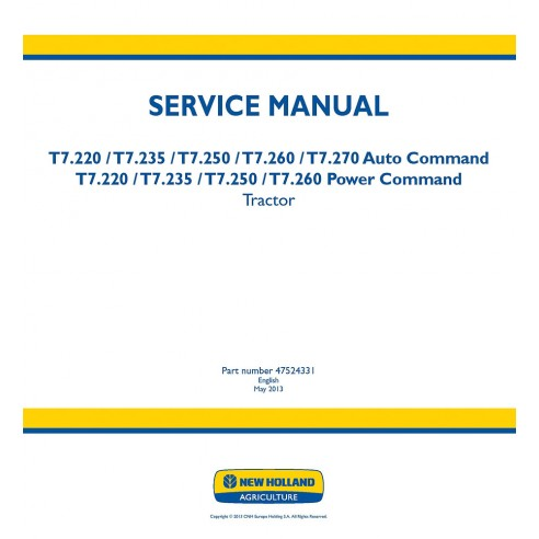 Service manual for New Holland T7.220, T7.235, T7.250, T7.260, T7.270 tractor, PDF-New Holland