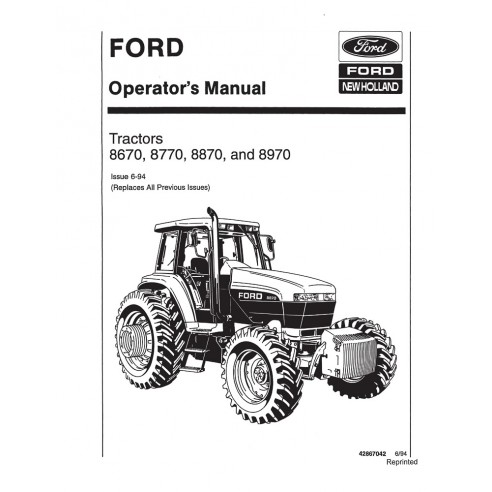 New Holland 8670, 8770, 8870, 8970 tractor operator's manual - New Holland Agriculture manuals