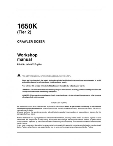 Case 1650K crawler dozer workshop manual - Case manuals