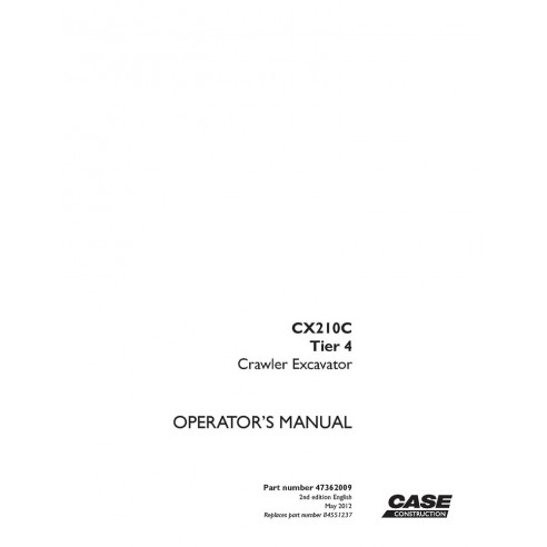 Service manual for Case CX210C Tier 4 excavator, PDF-Case