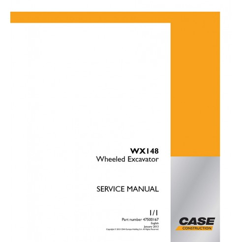 Service manual for Case WX148 excavator, PDF-Case