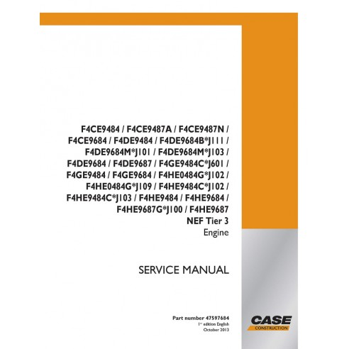 Service manual for Case F4CE9484 - F4HE9687 NEF Tier 3 engine, PDF-Case