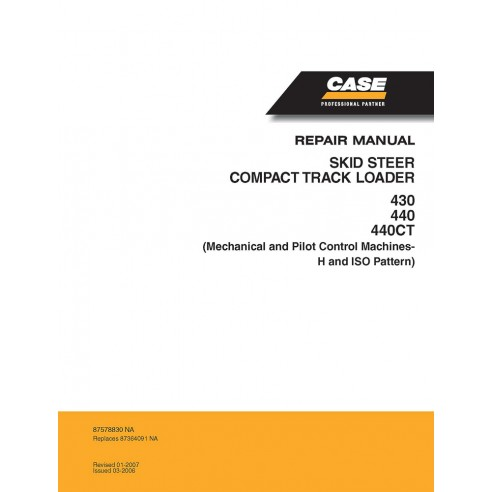 Manual de servicio del cargador deslizante Case 430, 440, 440CT - Case manuales