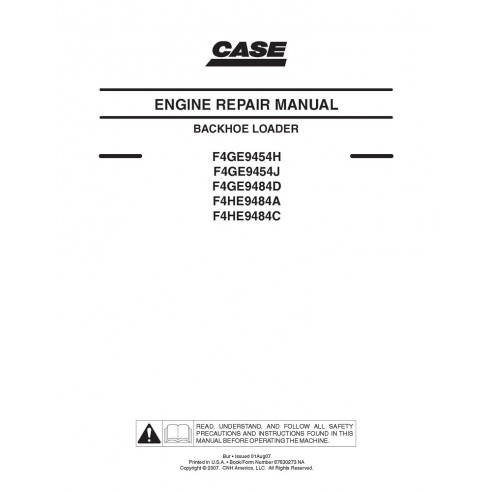 Case F4GE9454H - Manuel d'entretien du moteur F4HE9484C - Case manuels