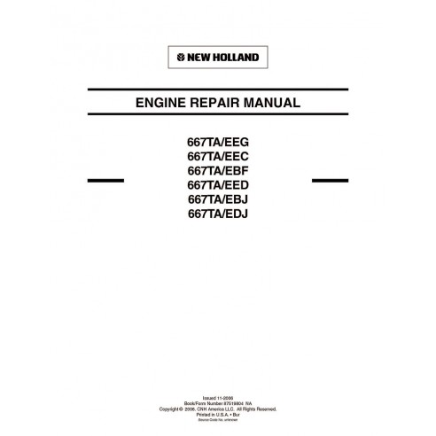 Manuel de réparation moteur New Holland 667TA / EEG, EEC, EBF, EED, EBH, EDJ - Construction New Holland manuels