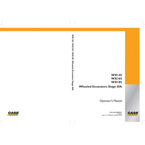 Operator's manual for Case WX145, WX165, WX185 excavator, PDF-Case
