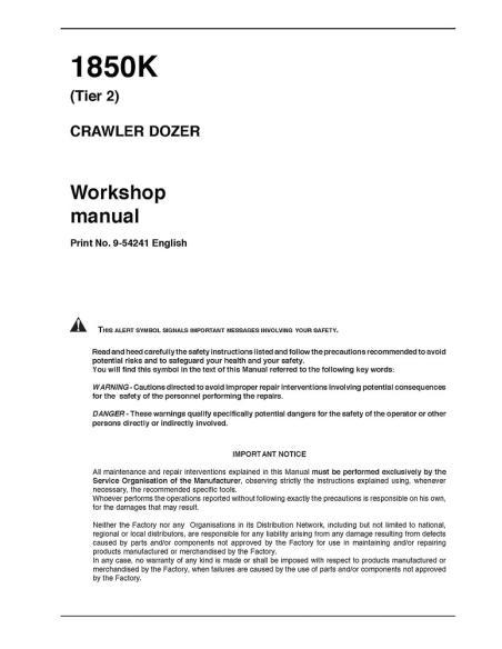Case 1850K Tier 2 crawler dozer workshop manual - Case manuals