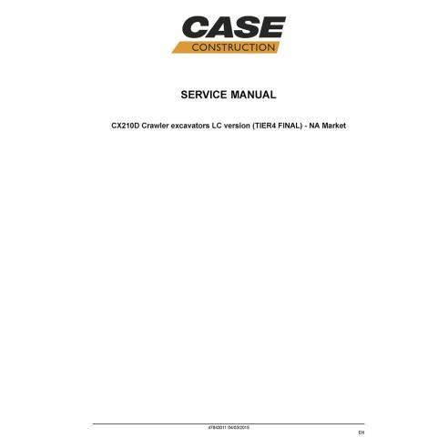 Manual de reparo de escavadeira Case CX210D Tier 4 - Case manuais