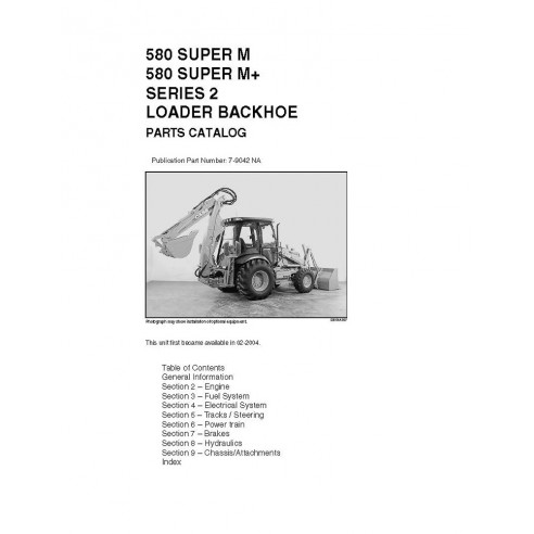 Parts catalog for Case 580 Super M backhoe loader, PDF-Case