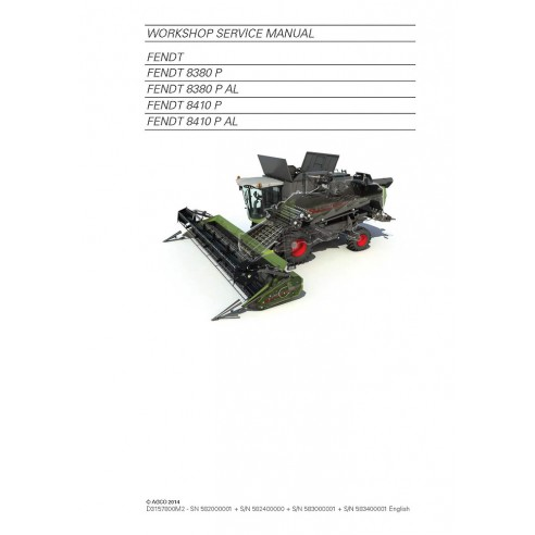 Fendt 8380, 8410 combine harvester service manual - Fendt manuals