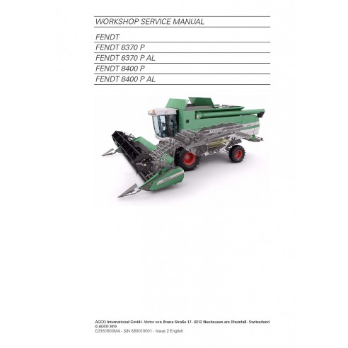 Service manual for Fendt 8370, 8400 combine harvester, PDF-Fendt