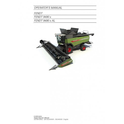 Operator's manual for Fendt 9490 combine harvester, PDF-Fendt