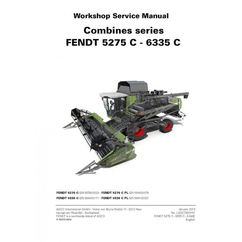 Service manual for Fendt 5275 C, 6335 C combine harvester, PDF-Fendt