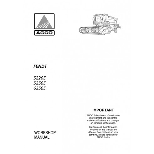 Manual de oficina da colheitadeira Fendt 5220E, 5250E, 6250E - Fendt manuais