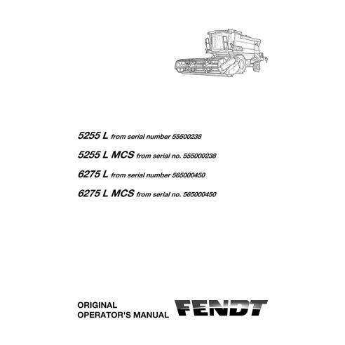 Manual del operador de la cosechadora Fendt 5255 L, 6275 L - Fendt manuales