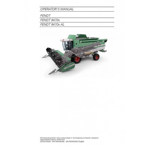 Operator's manual for Fendt 9470 combine harvester, PDF-Fendt