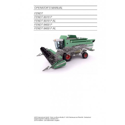 Manual do operador da colheitadeira Fendt 8370 P, 8400 P - Fendt manuais