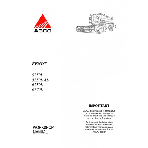Workshop manual for Fendt 5250 L, 6250 L, 6270 L combine harvester, PDF-Fendt