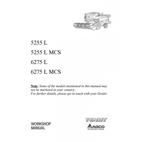 Workshop manual for Fendt 5255 L, 6255 L, 6275 L combine harvester, PDF-Fendt