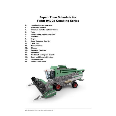 Calendario de reparación de cosechadoras combinadas Fendt 9470 - Fendt manuales