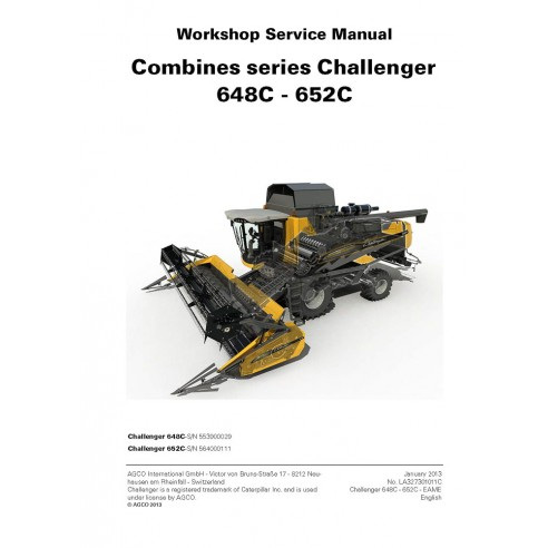 Manual de servicio de la cosechadora Challenger 648C, 652C - Challenger manuales