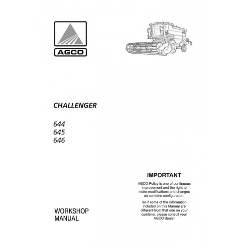 Challenger 644, 645, 646 combine harvester workshop manual - Challenger manuals