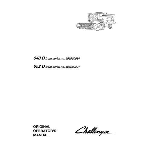 Challenger 648 D, 652 D combine harvester operator's manual - Challenger manuals