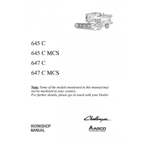 Workshop manual for Challenger 645 C, 647 C combine harvester, PDF-Challenger