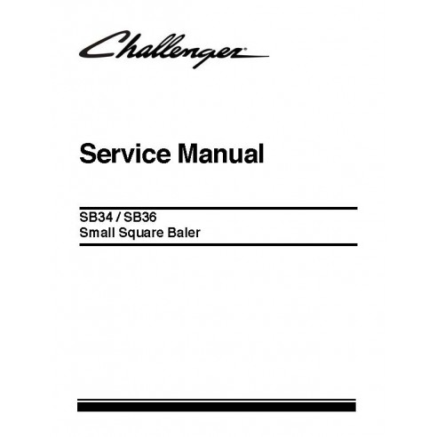 Challenger SB34, manual de serviço da enfardadeira SB36 - Challenger manuais