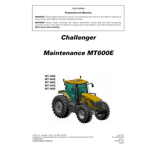 Challenger MT 645E, 655E, 665E, 675E, 685E tractor maintenance manual - Challenger manuals