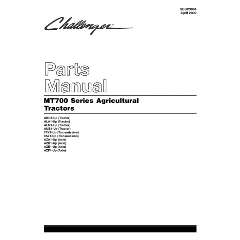 Manual de piezas del tractor Challenger MT 700 series - Challenger manuales