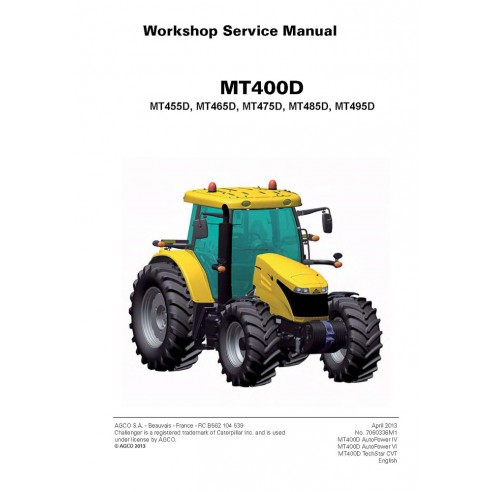 Challenger MT400D Series, MT455D, MT465D, MT475D, MT485D, MT495D tractor workshop service manual - Challenger manuals