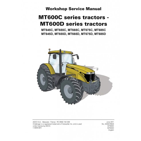 Challenger MT600C -MT600D Series tractor workshop service manual - Challenger manuals