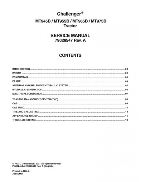 Service manual for Challenger MT945B, MT955B, MT965B, MT975B tractor, PDF-Challenger