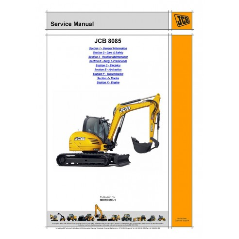 Service manual for JCB 8085 excavator, PDF-JCB